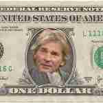 Dollar biljet met Matthijs van Nieuwkerk